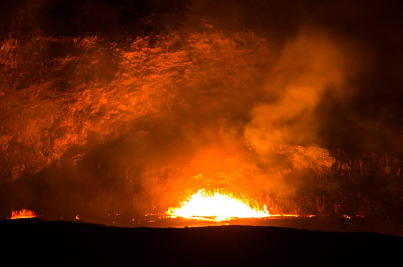 Night time view of lava in Kilauea - Volcanoes National Park, Big Island Hawaii