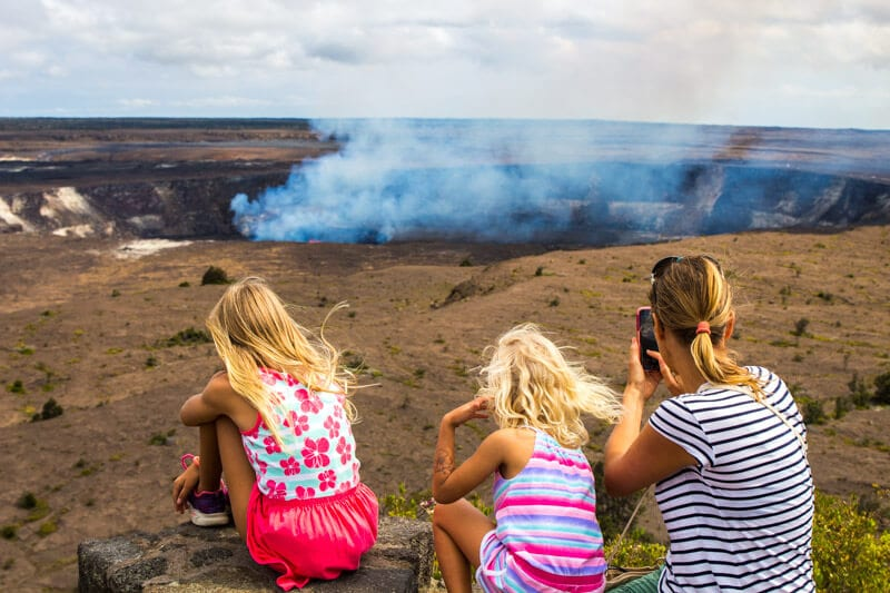 Overlooking Kilauea Volcano in Volcanoes National Park - Big Island of Hawaii