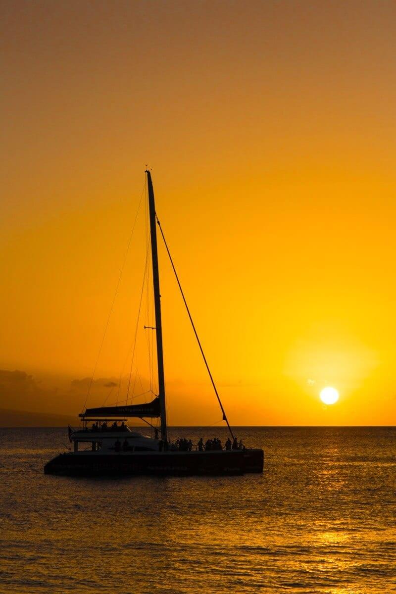 Sunset at Ka'anapali Beach in Maui, Hawaii