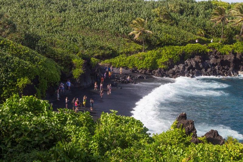 Waianapanapa (black sand beach) on the road to Hana in Maui, Hawaii