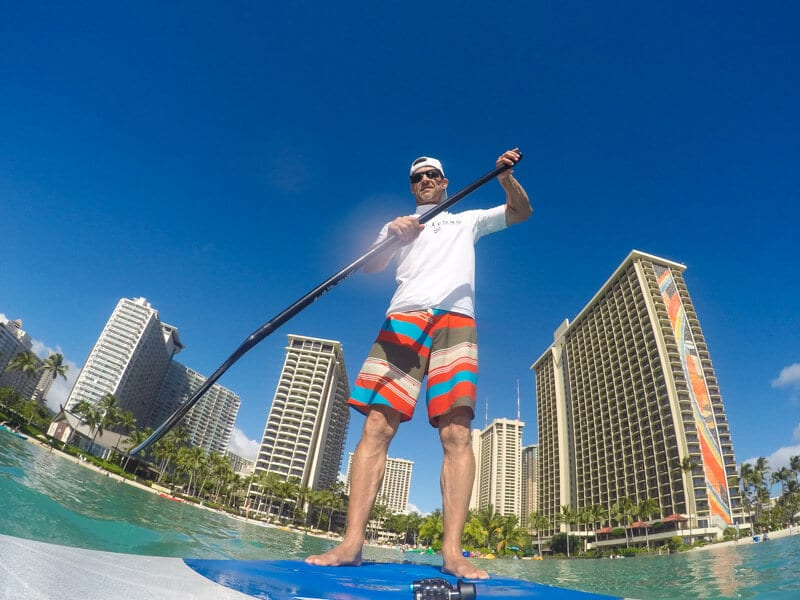 The views out to Waikiki Beach and the rainbow tower were beautiful. Craig enjoyed taking the photos and videos before sneaking out for some solo paddle boarding.