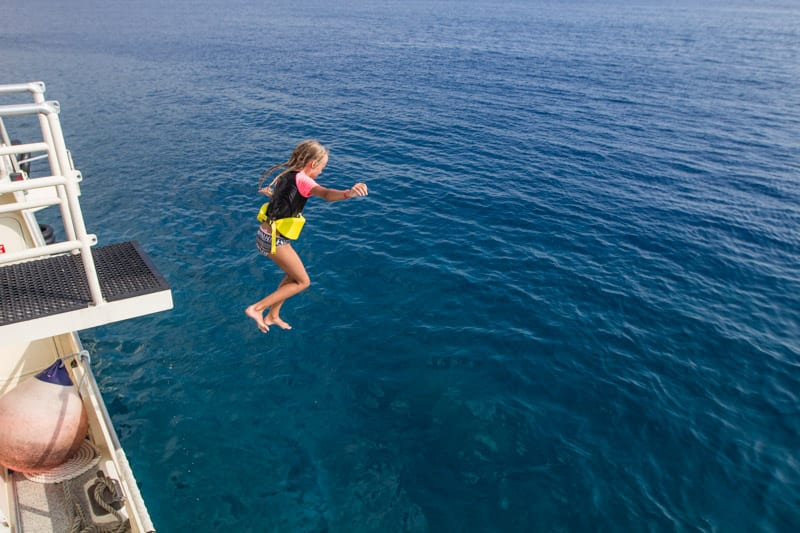 Jumping into Kealakekua Bay on the Big Island of Hawaii