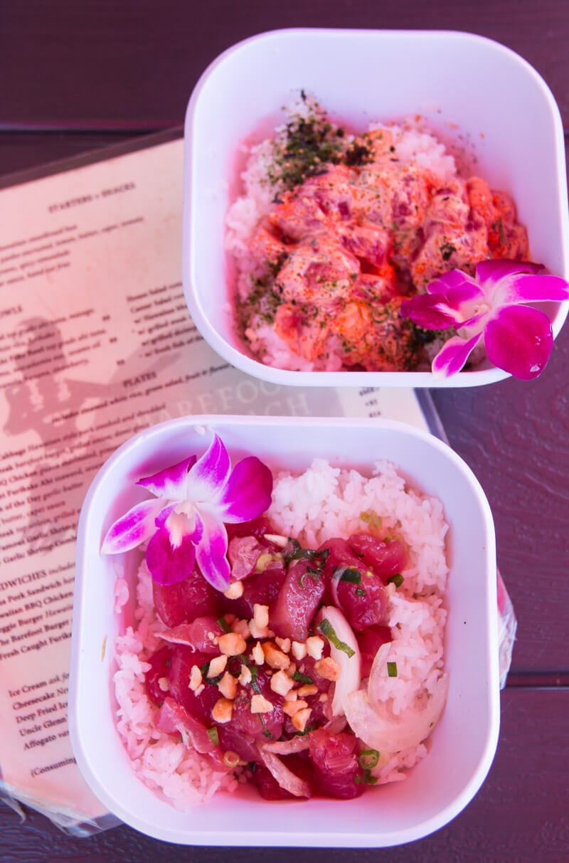 Poke, a traditional Hawaiian dish at the Barefoot Beach cafe in Waikiki