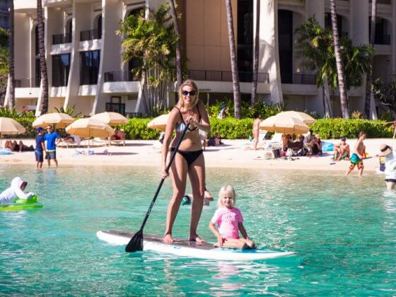 The lagoon at Hilton Hawaiian Village - one of the best things to do in Hawaii with kids