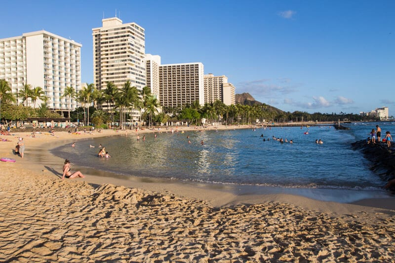 Waikiki Beach - one of the best things to do in Hawaii with kids