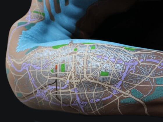 David Nuttel Artimaps drawing fictional maps on naked bodies (3)