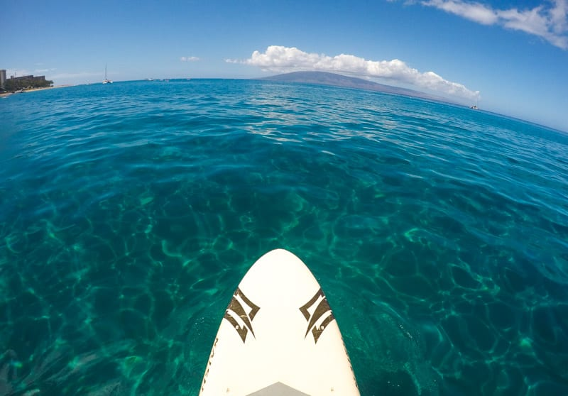 Stand up paddle boarding at Kaanapali Beach in Maui, Hawaii