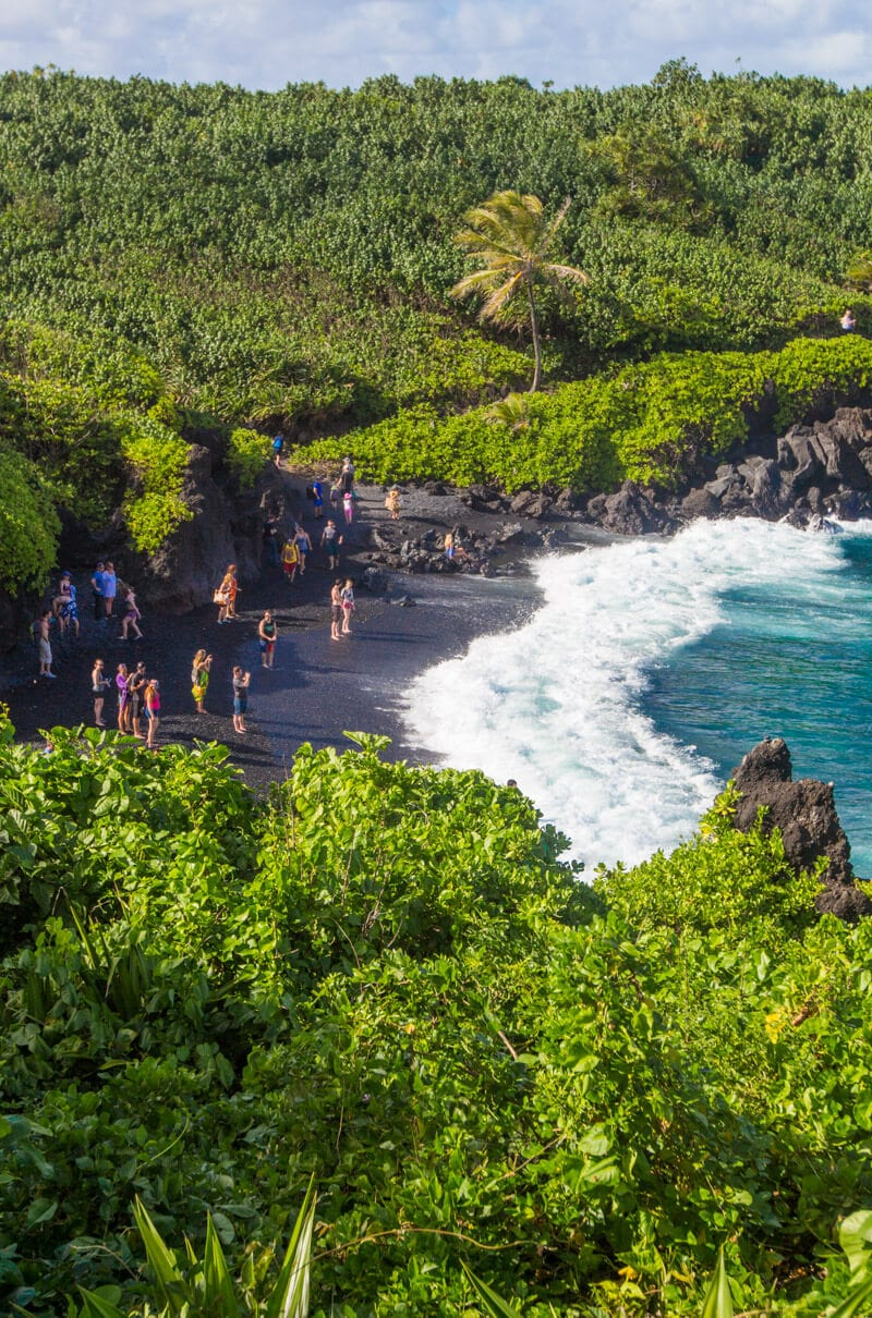 Black Sand Beach (Pai'iloa Beach) - one of the best stops along the Road to Hana drive in Maui, Hawaii