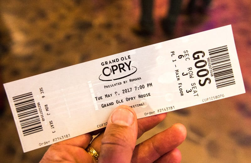 Tickets to the Grand Ole Opry Show in Nashville, Tennessee