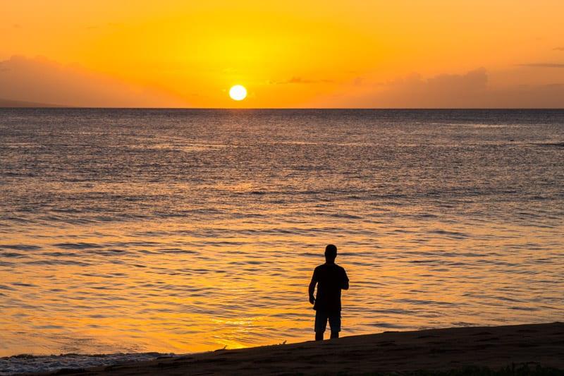 Sunset at Kaanapali Beach in Maui, Hawaii