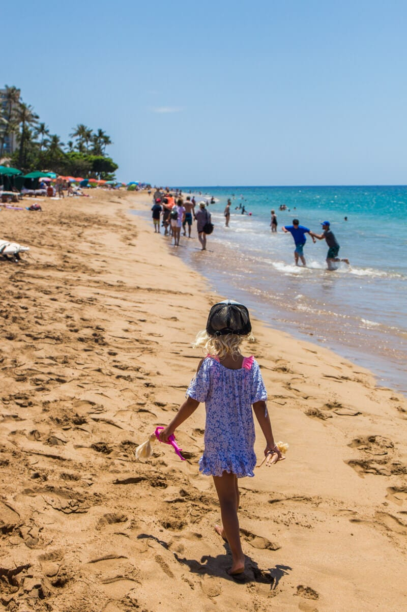 Taking a stroll along Kaanapali Beach in Maui, Hawaii