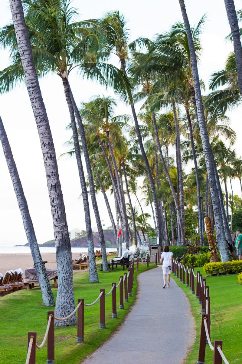 Walking along the Esplanade at Kaanapali Beach in Maui, Hawaii