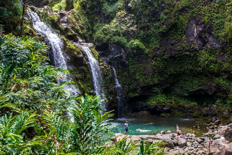 Upper Waikani Falls - one of the bet top along the Road to Hana drive in Maui, Hawaii