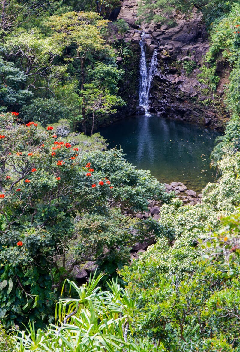 Waterfall in the Garden of Eden along the Road to Hana drive in Maui, Hawaii