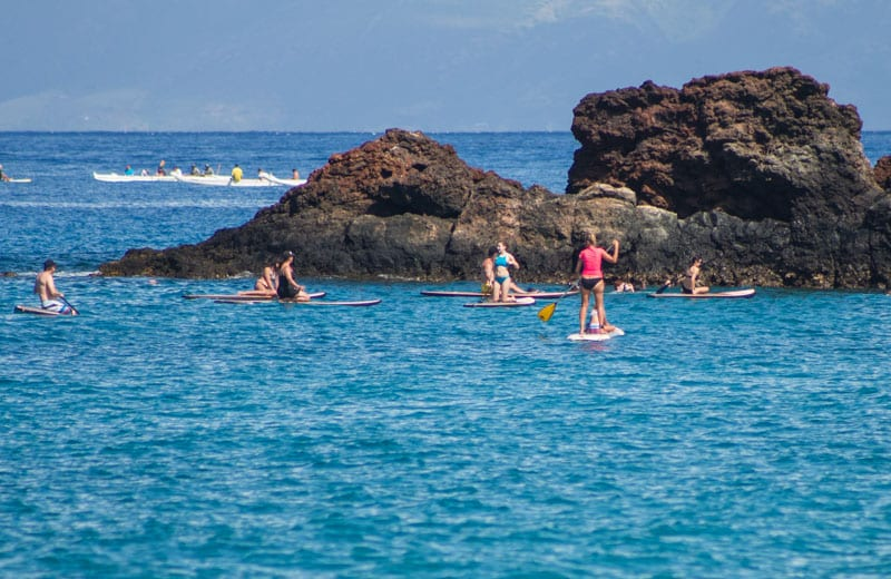 Stand up paddle boarding at Black Rock, Maui