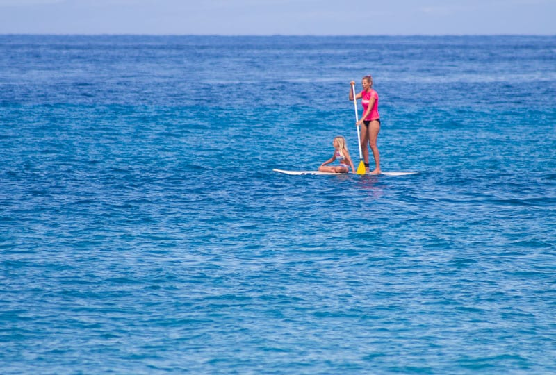 Stand up paddle boarding at Kaanapali Beach, Maui, Hawaii