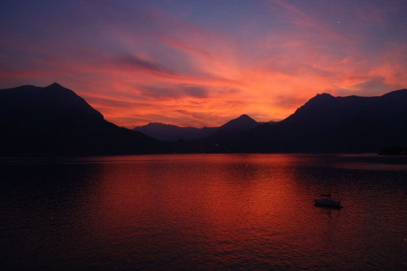 Make reservations ahead of time to enjoy a sunset dinner with a lakeside view at Lake Como