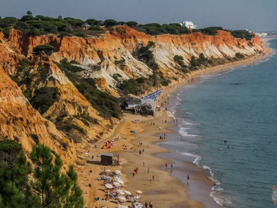 Praia da Falesia is another great beach to visit in Algarve because of all the beautiful colors