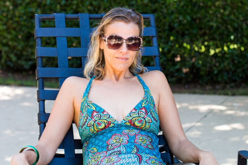 Caz by the pool in her Lahari One Piece Bathing Suit