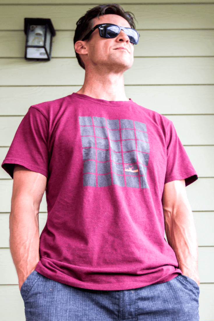 I like going off the grid when I travel as much as possible and I love this off the grid t-shirt, made from lightweight organic cotton. My color is raisin but also comes in emerald water.