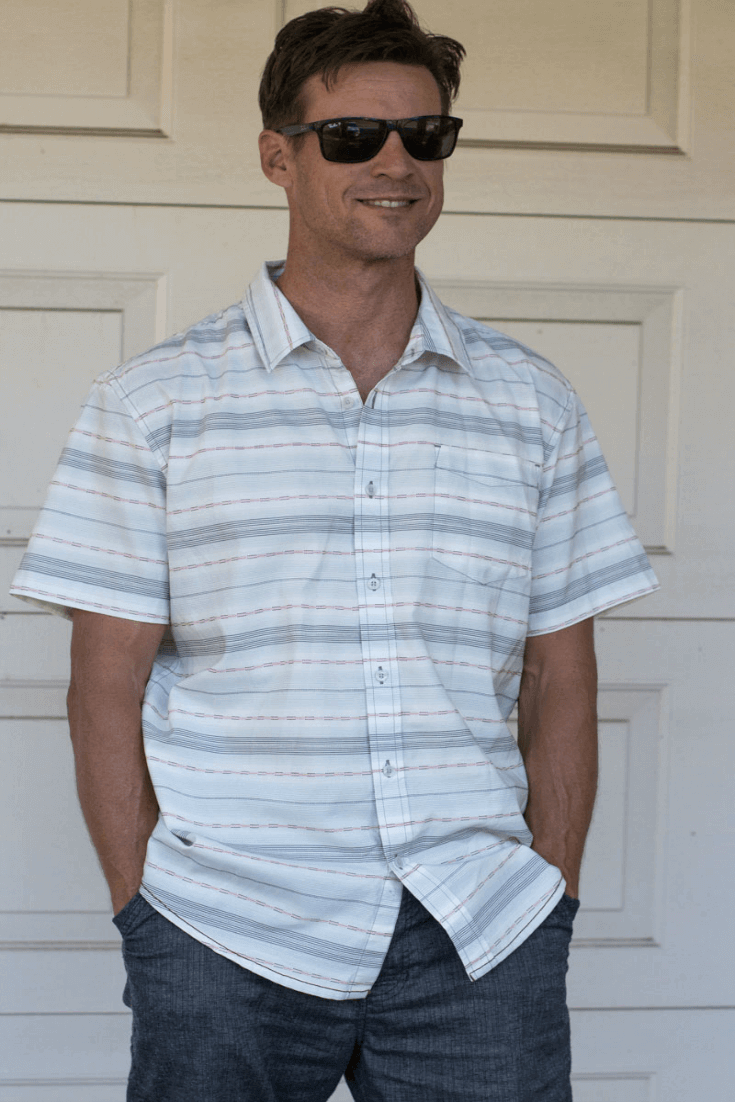 I have several Prana t-shirts and this Tamrack Shirt is made with organic cotton blended fabric making it super soft, and features classic plaid in a comfortable short-sleeved button up.  Goes well with pants or shorts. Comes in 4 different color patterns.