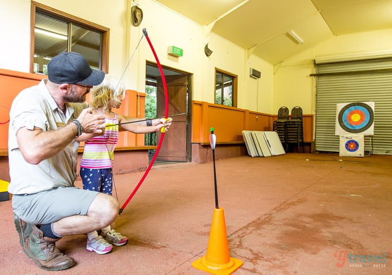 Archery at Binna Burra Lodge, Gold Coast Hinterland, Queensland, Australia
