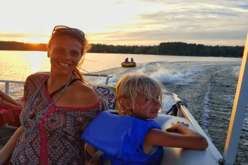 Sunset boat ride on Kerr Lake, North Carolina