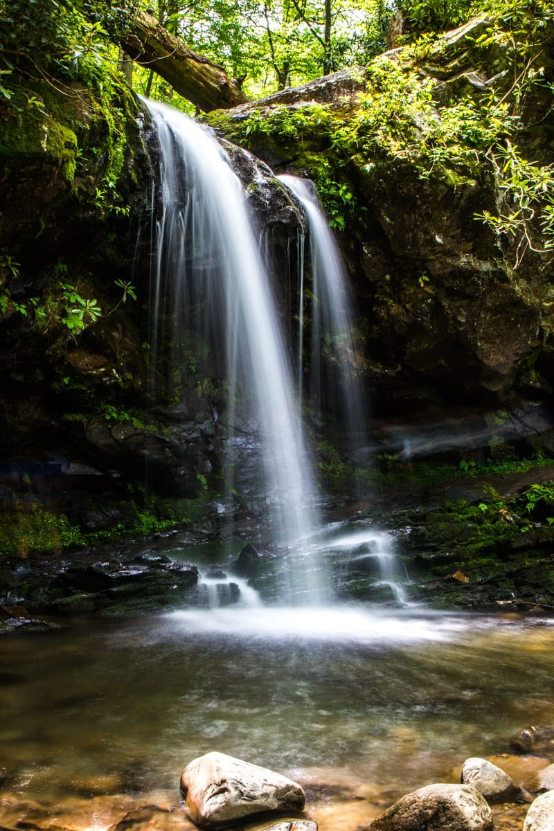 Grotto Falls in the The Great Smoky Mountains National Park. One of the best places to visit in Tennessee