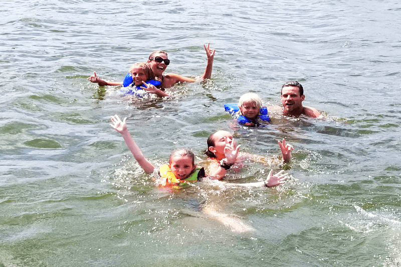 Swimming at Kerr Lake, North Carolina