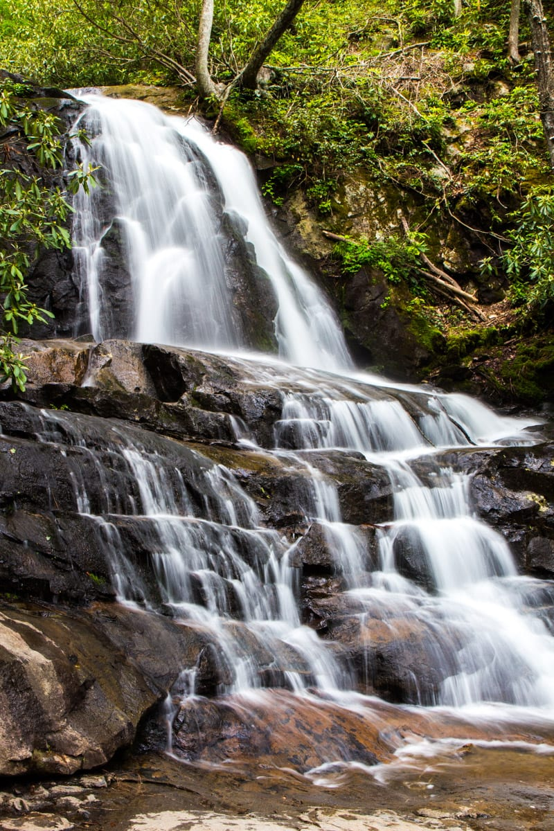 Laurel Falls in The Great Smoky Mountains National Park. One of the best places to visit in Tennessee