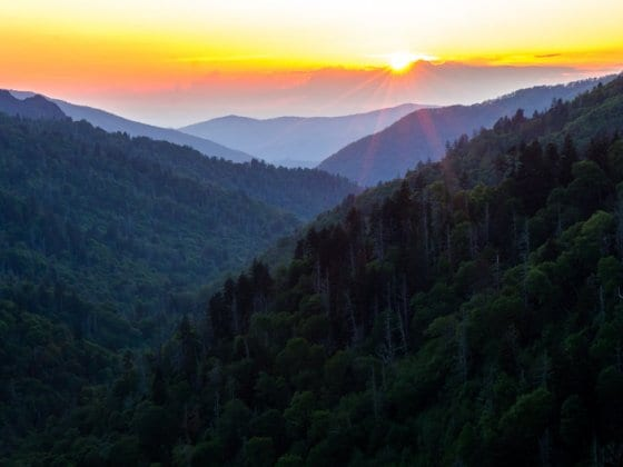 Sunset at Morton Overlook in The Great Smoky Mountains National Park. One of the best places to visit in Tennessee