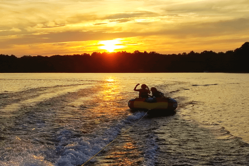 Sunset tubing on Kerr Lake, North Carolina