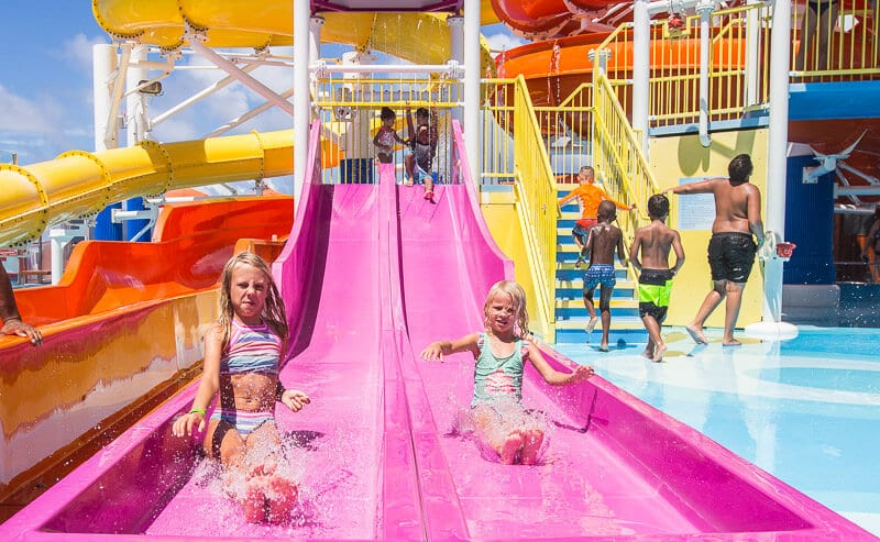 Water slides on Carnival Vista