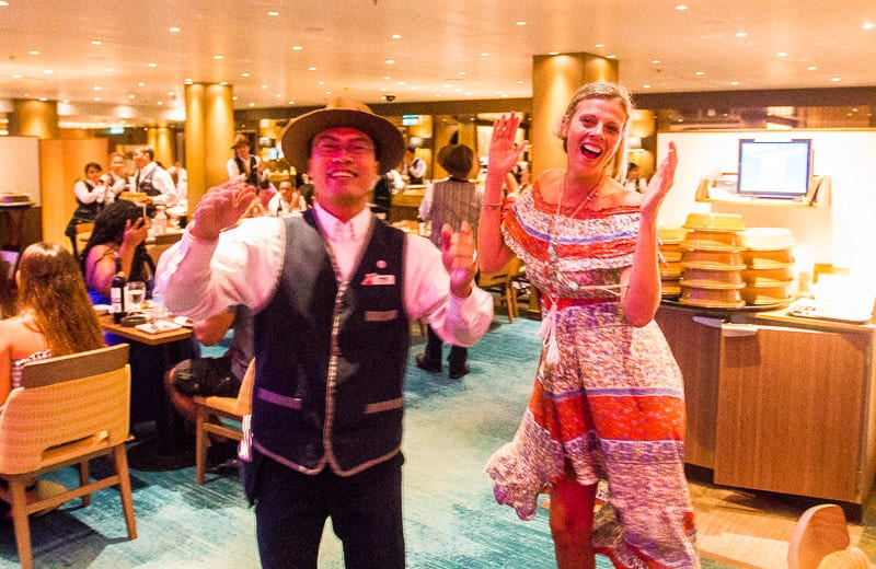 Dancing with the staff in Horizons Restaurant on Carnival Vista