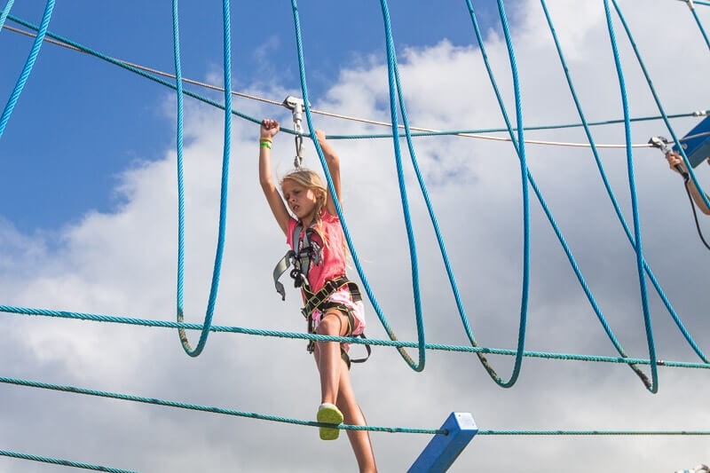 Sky ropes course on carnival Vista