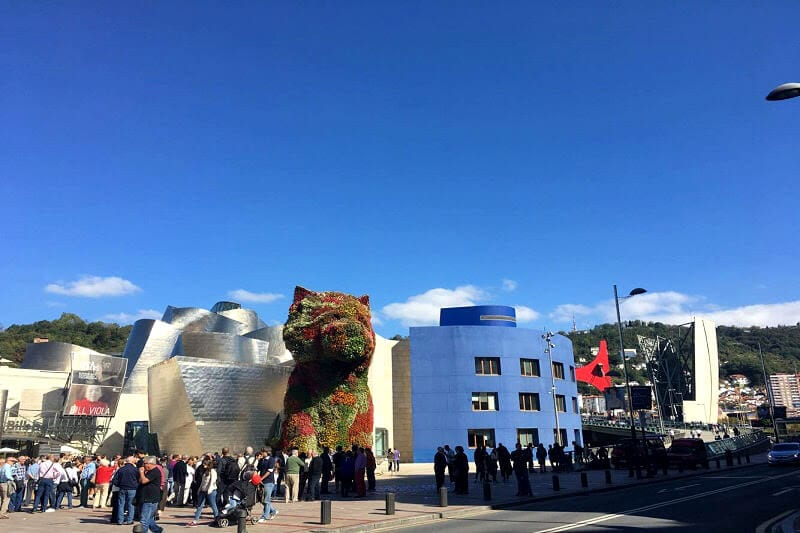 Guggenheim Museum and the flower puppy - Basque region of Spain