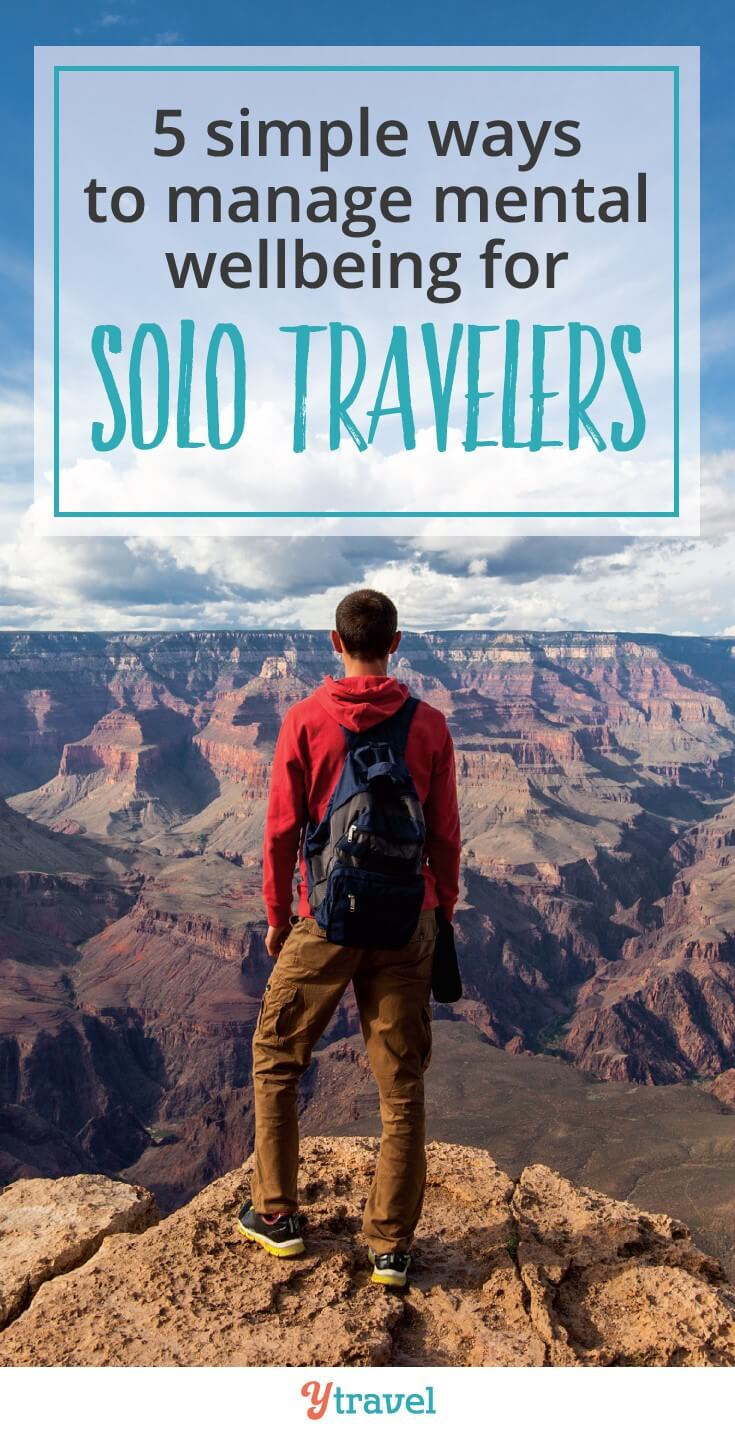 Suffer from anxiety? Worried about being alone when you travel? Here are 5 ways to manage your mental wellbeing as a solo traveller so you can feel great and create amazing memories #wellbeing #mentalhealth #traveltips #solotravel