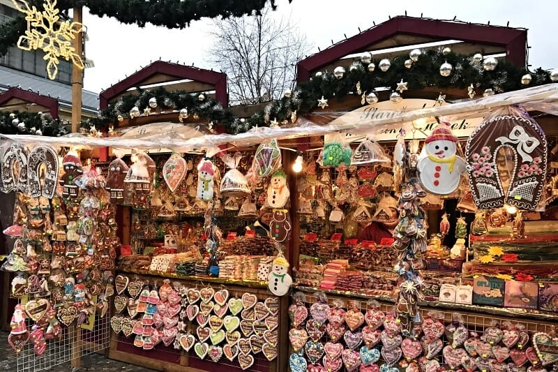 Gingerbread stall in Christmas markets in Prague