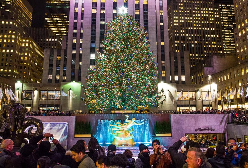 Rockefeller Plaza tree things to do in New York at Christmas