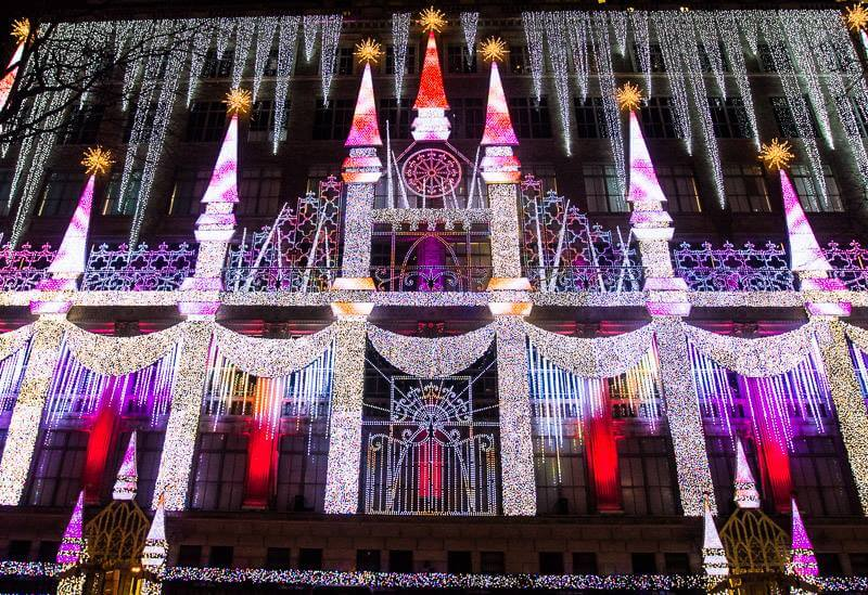 Saks 5th Avenue light display New York at Christmas