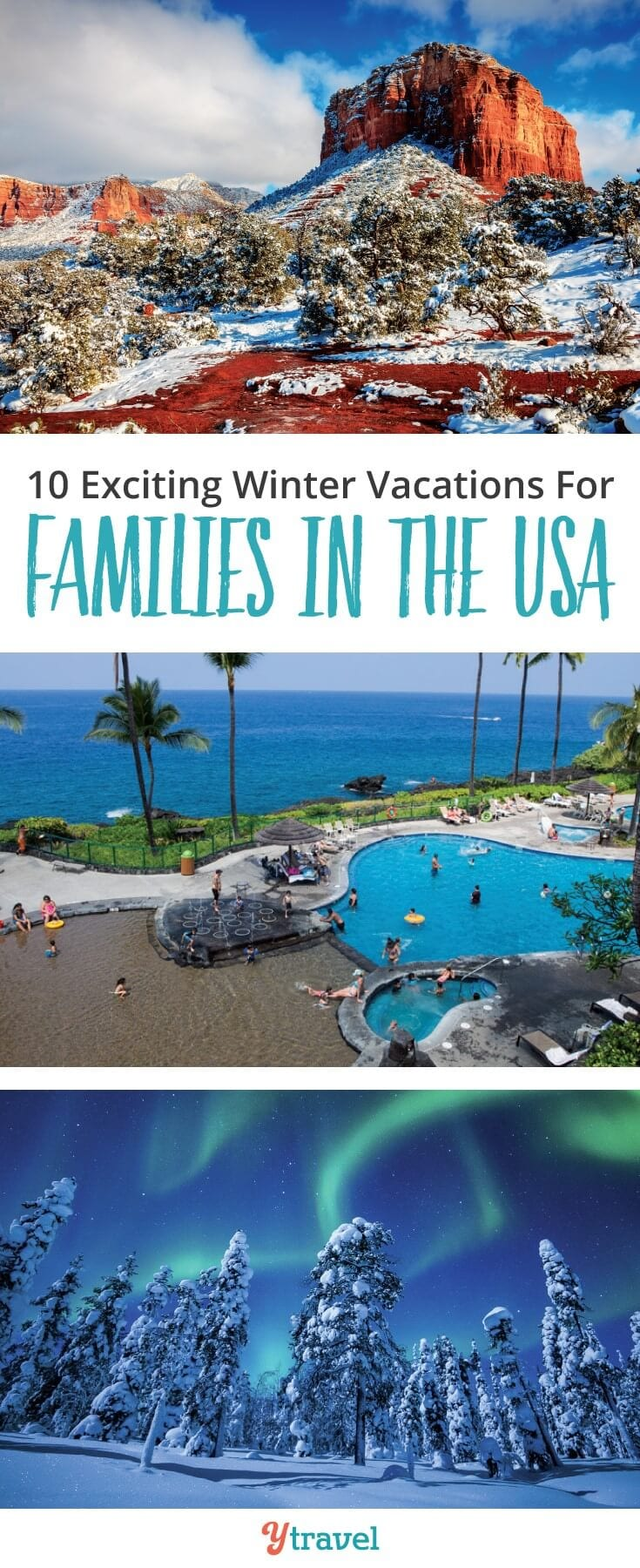 10 winter vacations for families in the USA. Great suggestions on places to visit with kids to embrace winter, or destinations to escape the cold!