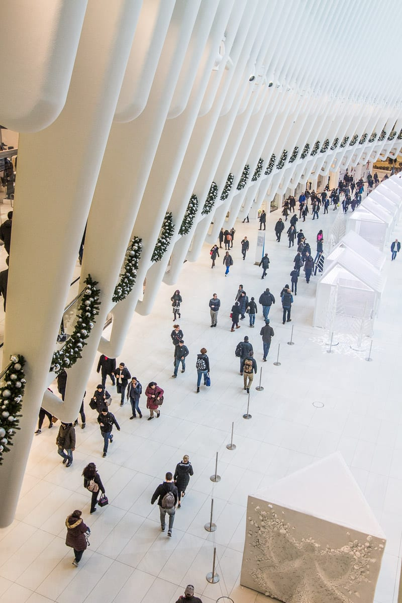 Inside the Oculus at One World Trade Center in NYC.