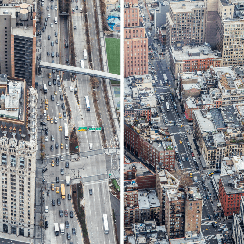 View of NYC streets from top of One World Observatory