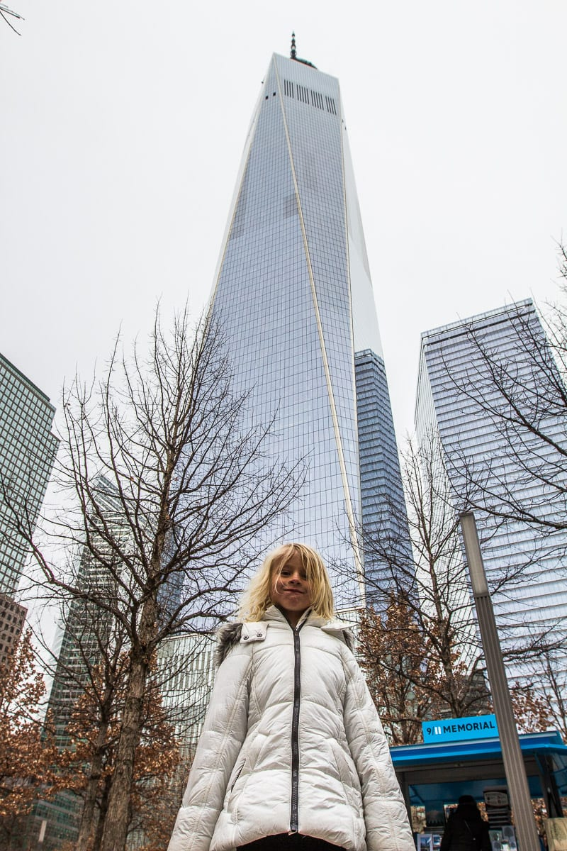 In front of the One World Observatory at the World Trade Center in New York City.