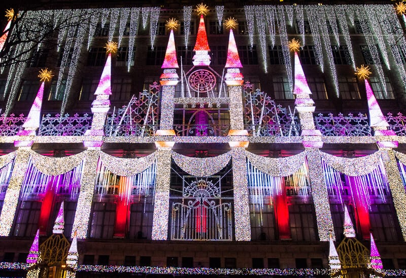 Christmas lights at Saks 5th Ave