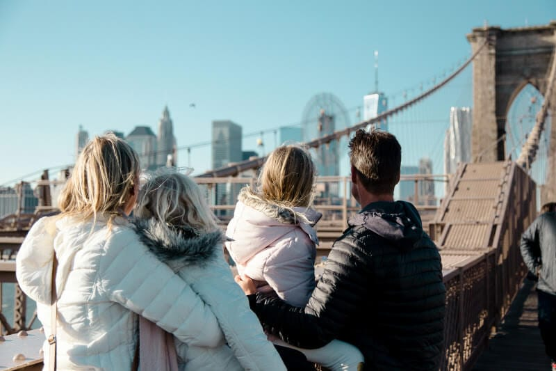 Walking across the Brooklyn Bridge - one of the best things to do in NYC with kids