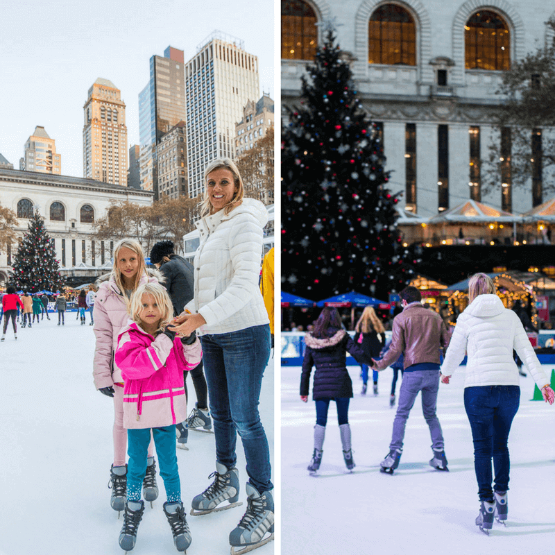 Ice skating in Bryant Park - one of the best things to do in NYC with kids