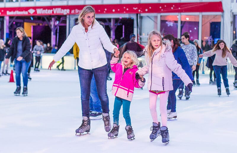 Ice skating at Bryant Park - one of the best things to do in NYC with kids