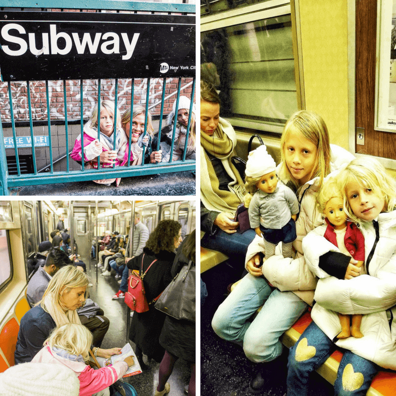 Riding the Subway in NYC - There's plenty of seating along The Highline and apparently during summerthere's weekly free drop-in workshops for kids.