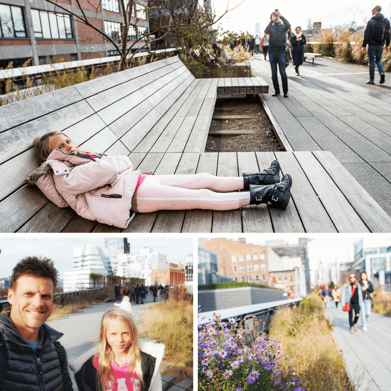 Walking the Highline in NYC - There's plenty of seating along The Highline and apparently during summerthere's weekly free drop-in workshops for kids.